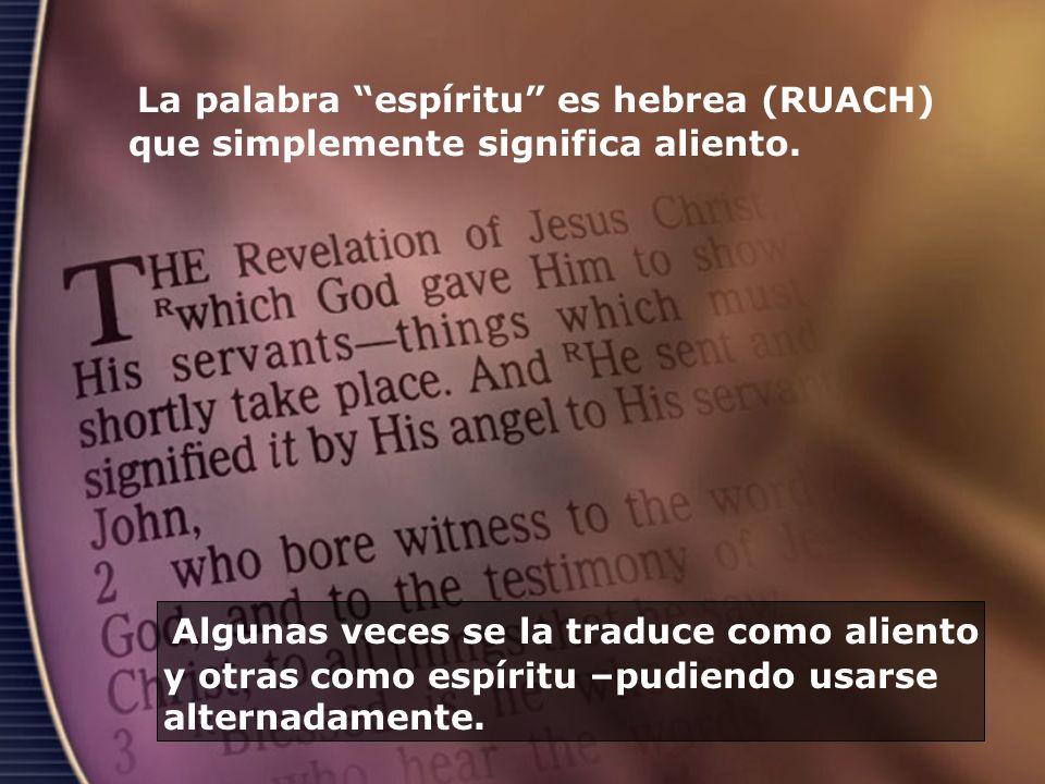 La palabra espíritu es hebrea (RUACH) que simplemente significa aliento.