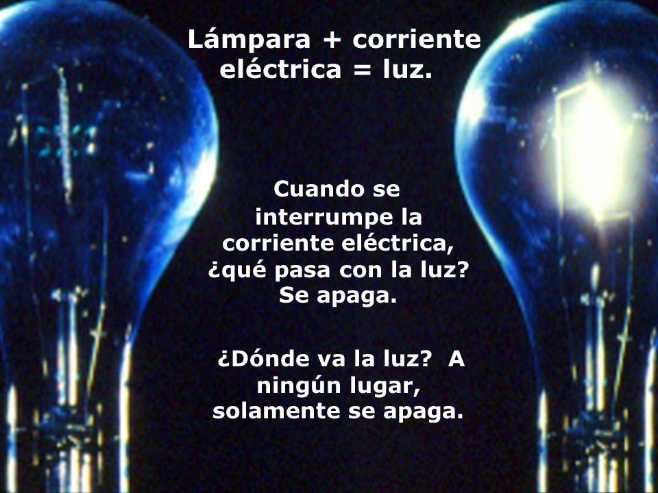 Lámpara + corriente eléctrica = luz.