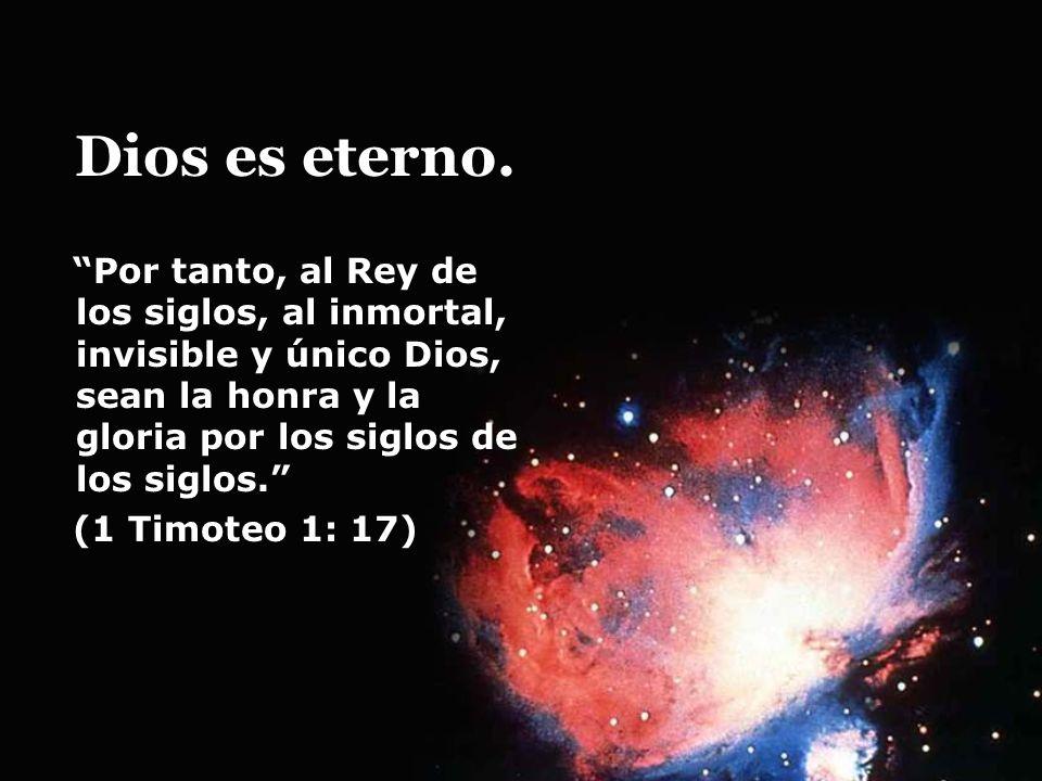 Dios es eterno. Por tanto, al Rey de los siglos, al inmortal, invisible y único Dios, sean la honra y la gloria por los siglos de los siglos.