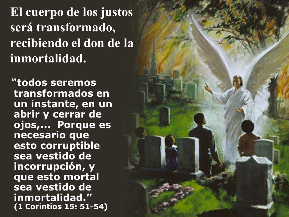 El cuerpo de los justos será transformado, recibiendo el don de la inmortalidad.