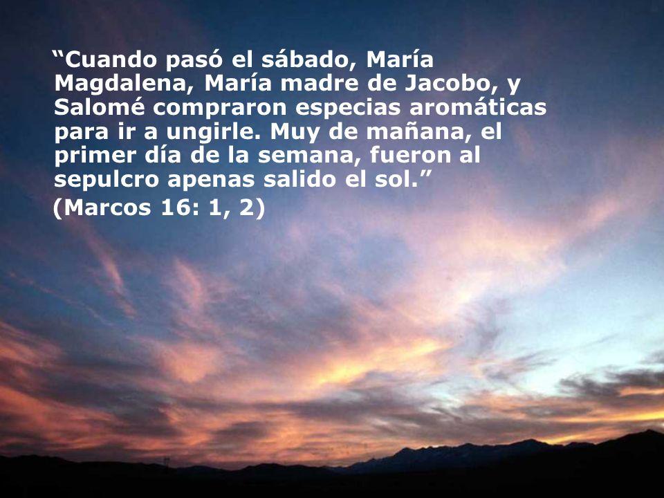 Cuando pasó el sábado, María Magdalena, María madre de Jacobo, y Salomé compraron especias aromáticas para ir a ungirle. Muy de mañana, el primer día de la semana, fueron al sepulcro apenas salido el sol.