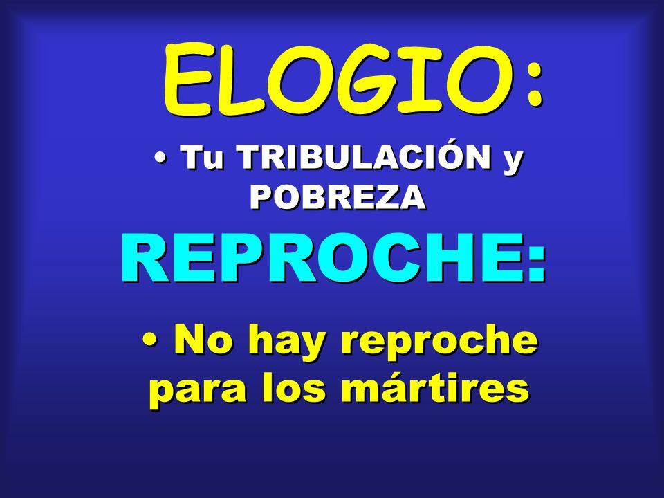 ELOGIO: REPROCHE: No hay reproche para los mártires