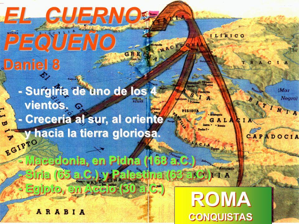EL CUERNO PEQUEÑO ROMA Daniel 8 - Surgiría de uno de los 4 vientos.