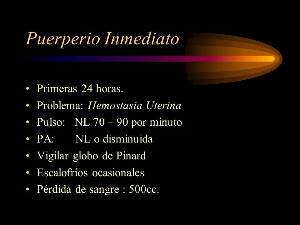 Puerperio Inmediato Primeras 24 horas. Problema: Hemostasia Uterina