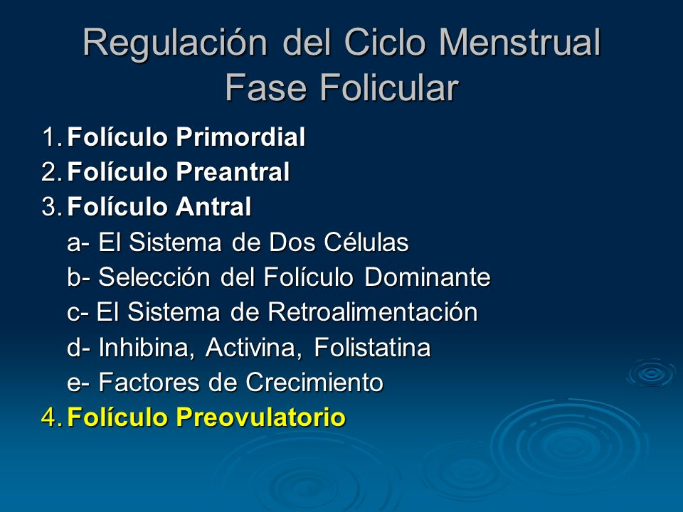 Regulación del Ciclo Menstrual Fase Folicular
