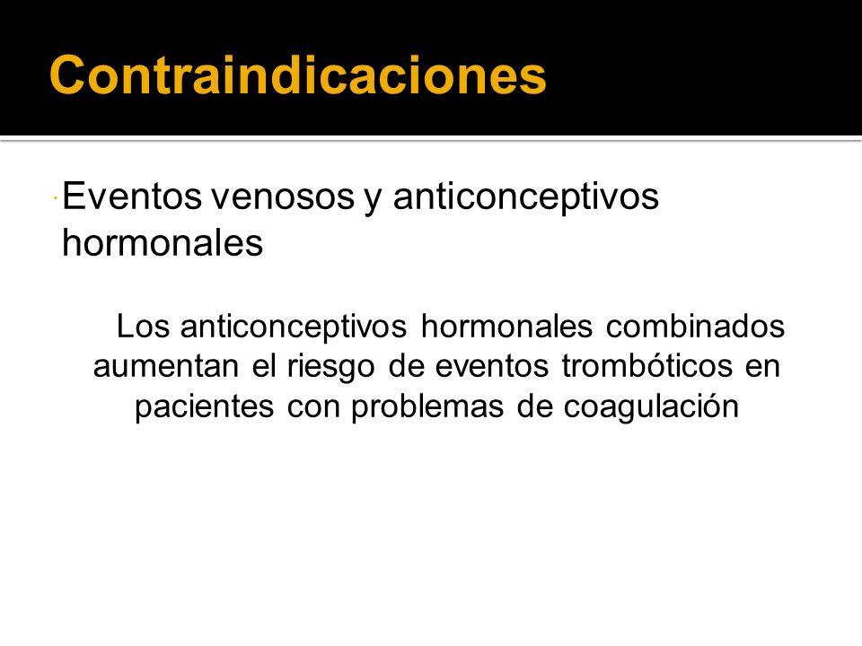 Contraindicaciones Eventos venosos y anticonceptivos hormonales