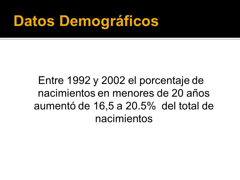 Datos Demográficos Entre 1992 y 2002 el porcentaje de nacimientos en menores de 20 años aumentó de 16,5 a 20.5% del total de nacimientos.