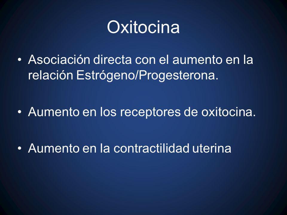 Oxitocina Asociación directa con el aumento en la relación Estrógeno/Progesterona. Aumento en los receptores de oxitocina.