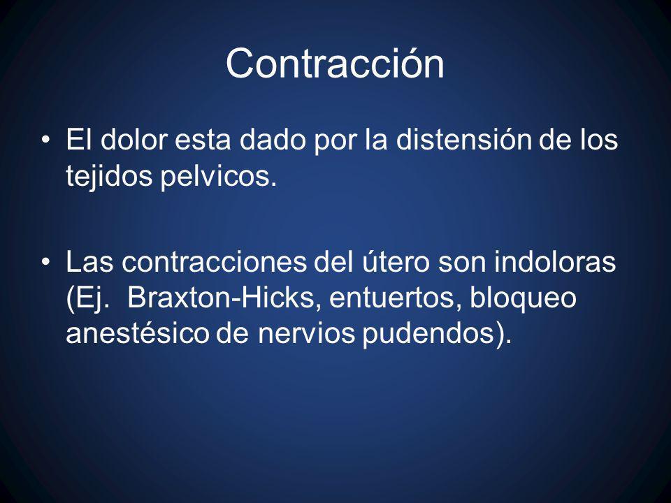 Contracción El dolor esta dado por la distensión de los tejidos pelvicos.