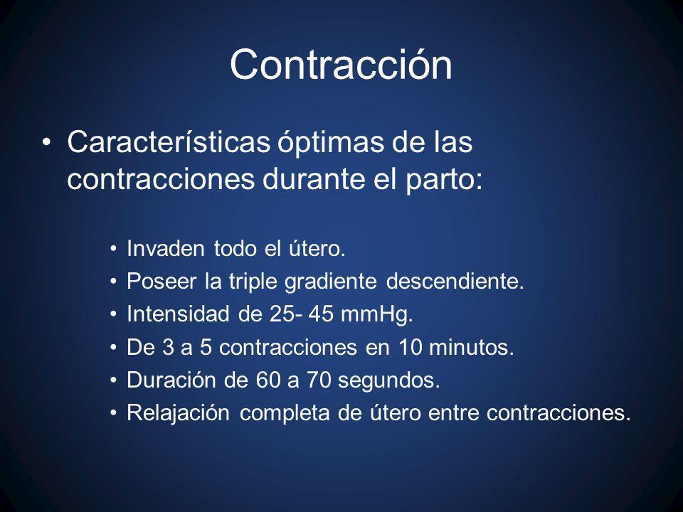 ContracciónCaracterísticas óptimas de las contracciones durante el parto: Invaden todo el útero. Poseer la triple gradiente descendiente.