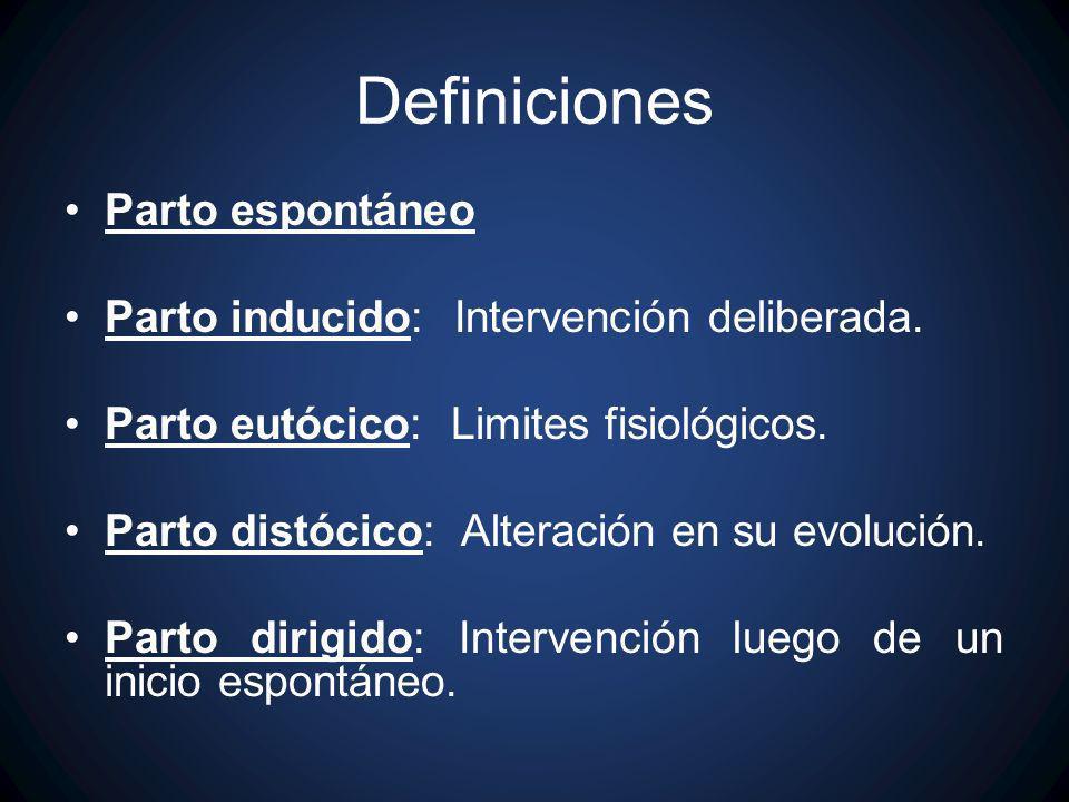 Definiciones Parto espontáneo Parto inducido: Intervención deliberada.