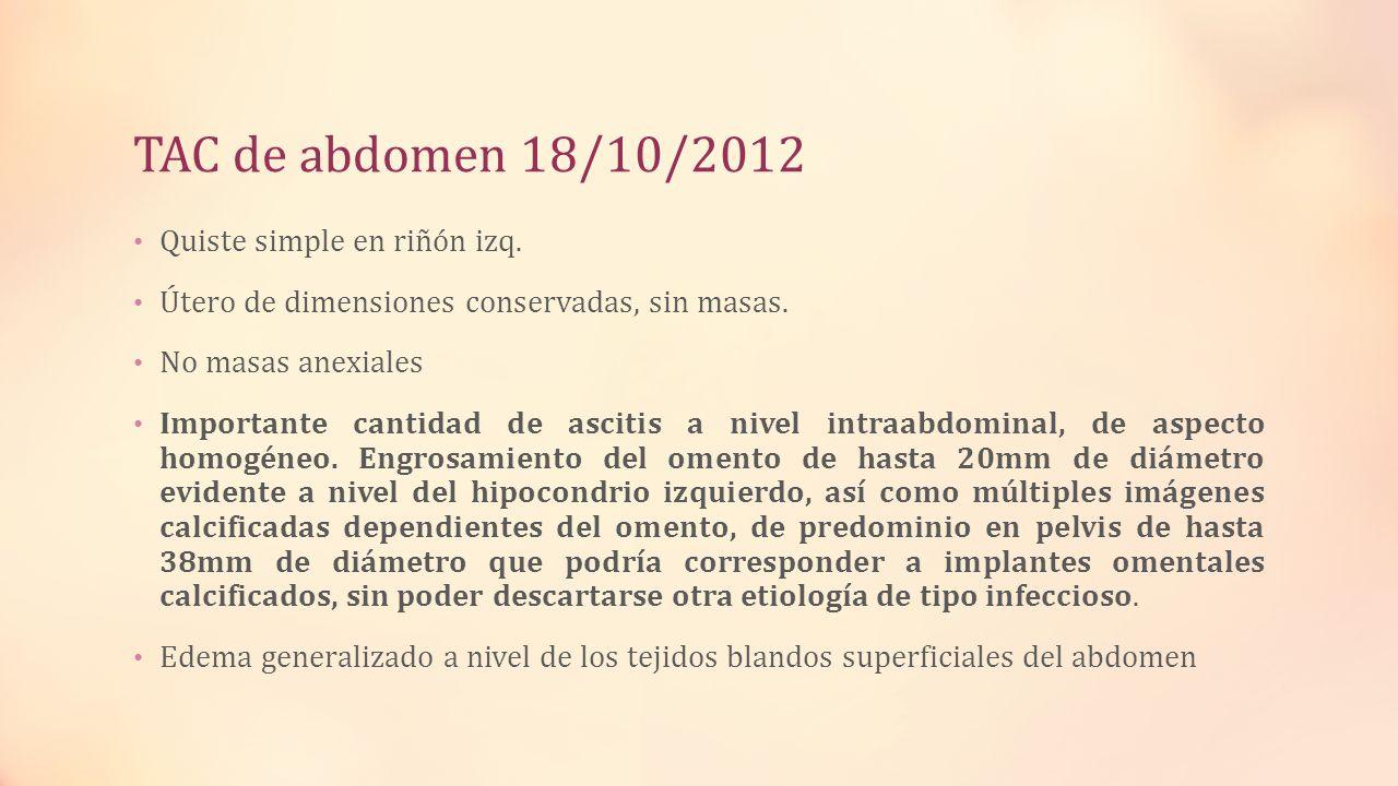 TAC de abdomen 18/10/2012 Quiste simple en riñón izq.
