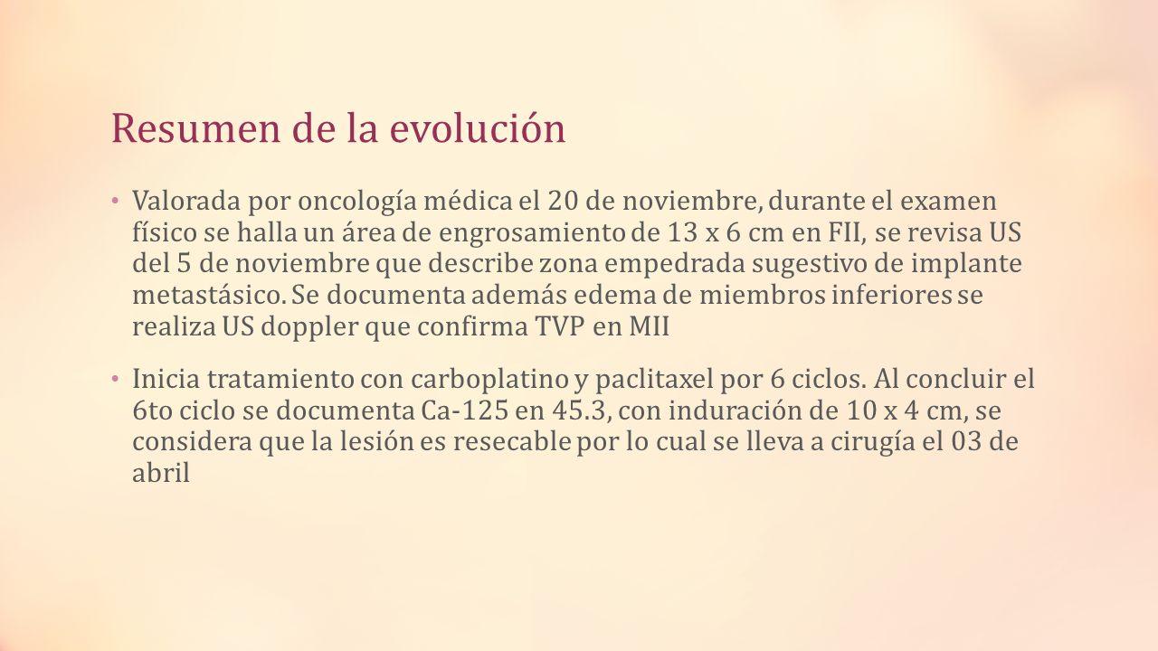 Resumen de la evolución