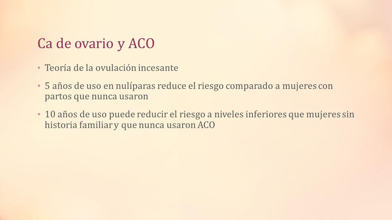Ca de ovario y ACO Teoría de la ovulación incesante