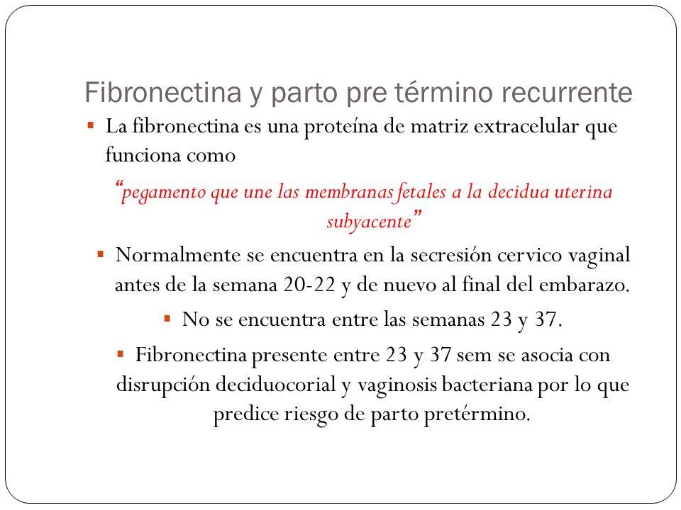 Fibronectina y parto pre término recurrente