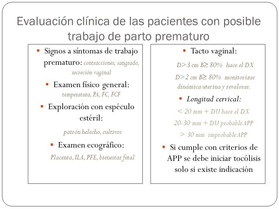 Evaluación clínica de las pacientes con posible trabajo de parto prematuro