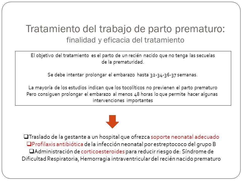 Tratamiento del trabajo de parto prematuro: finalidad y eficacia del tratamiento
