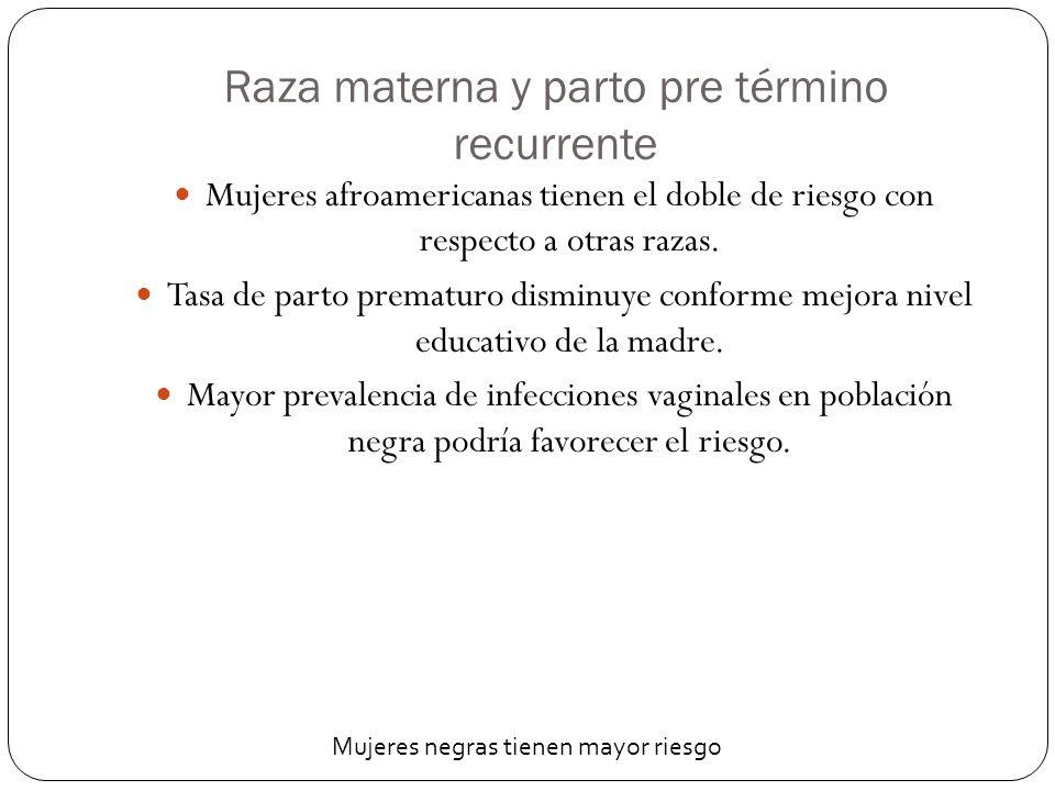 Raza materna y parto pre término recurrente