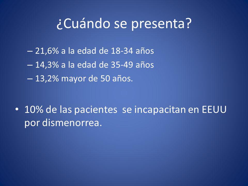 ¿Cuándo se presenta 21,6% a la edad de 18-34 años. 14,3% a la edad de 35-49 años. 13,2% mayor de 50 años.