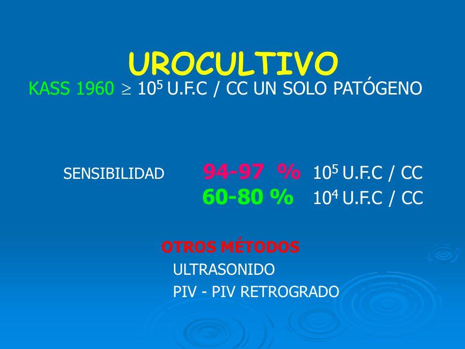 UROCULTIVO KASS 1960  105 U.F.C / CC UN SOLO PATÓGENO