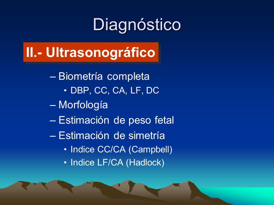 Diagnóstico II.- Ultrasonográfico Biometría completa Morfología