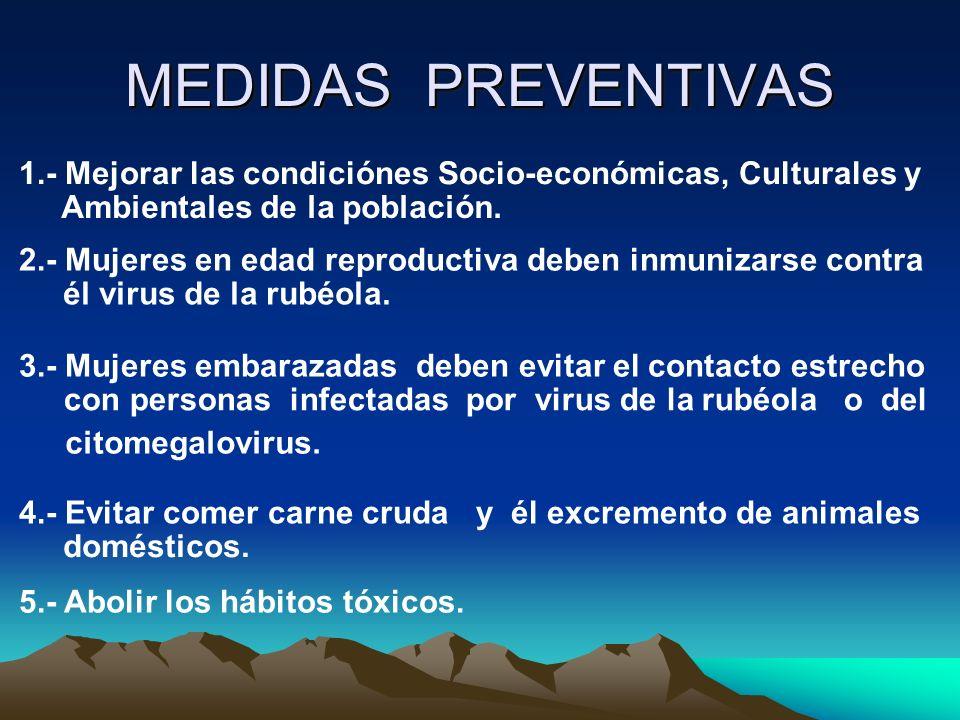 MEDIDAS PREVENTIVAS 1.- Mejorar las condiciónes Socio-económicas, Culturales y. Ambientales de la población.