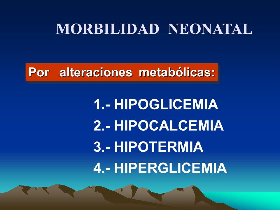 MORBILIDAD NEONATAL 1.- HIPOGLICEMIA 2.- HIPOCALCEMIA 3.- HIPOTERMIA