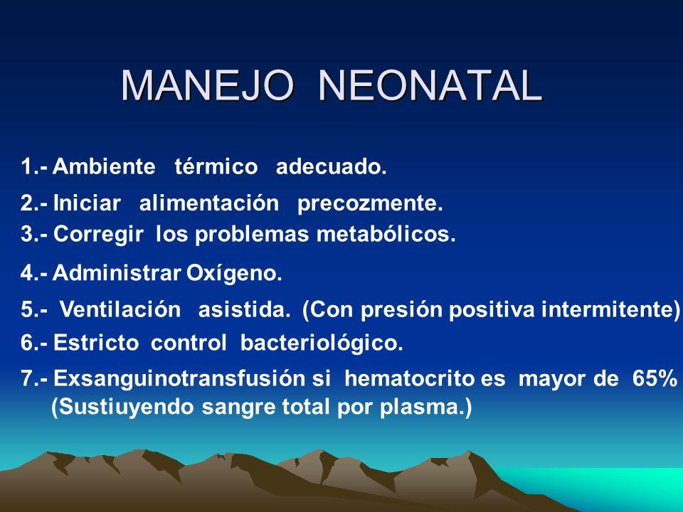 MANEJO NEONATAL 1.- Ambiente térmico adecuado.