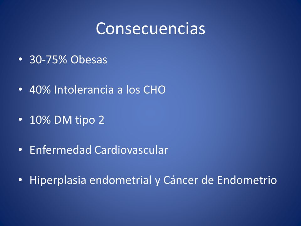 Consecuencias 30-75% Obesas 40% Intolerancia a los CHO 10% DM tipo 2