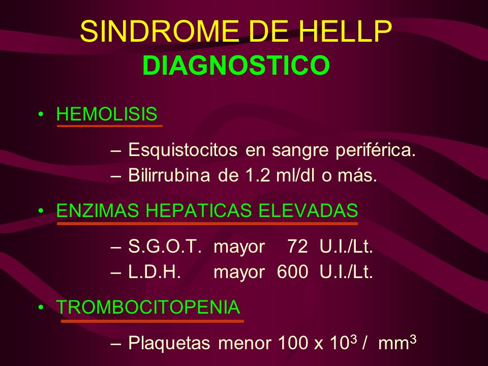 SINDROME DE HELLP DIAGNOSTICO