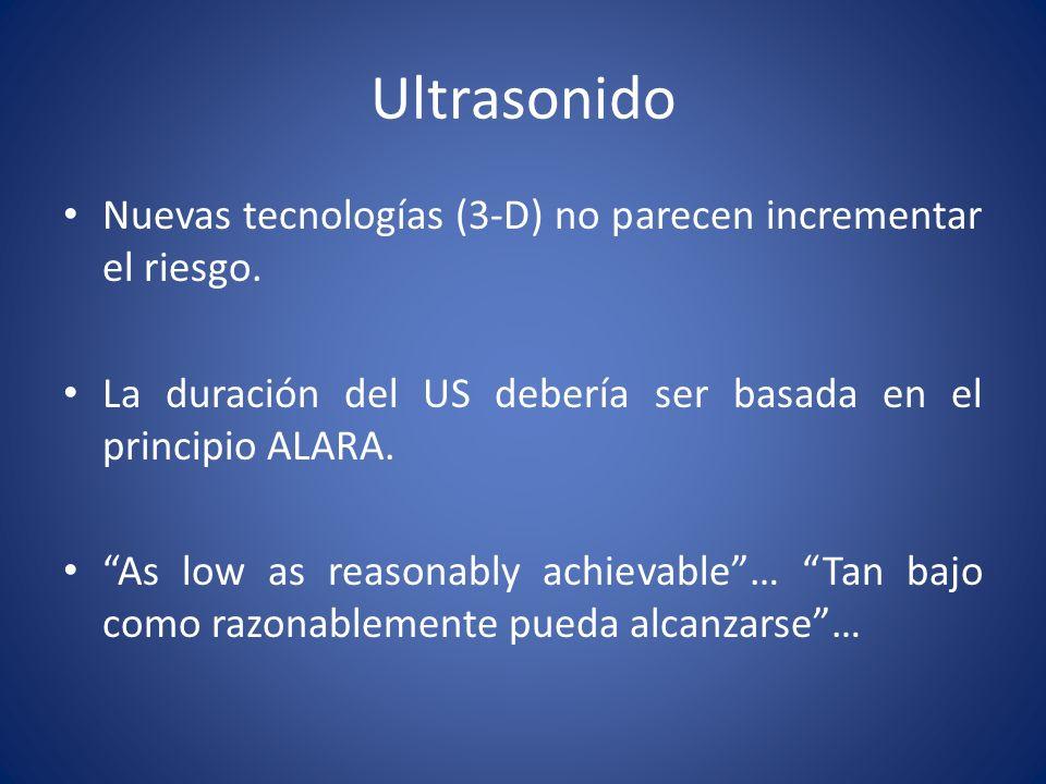 Ultrasonido Nuevas tecnologías (3-D) no parecen incrementar el riesgo.