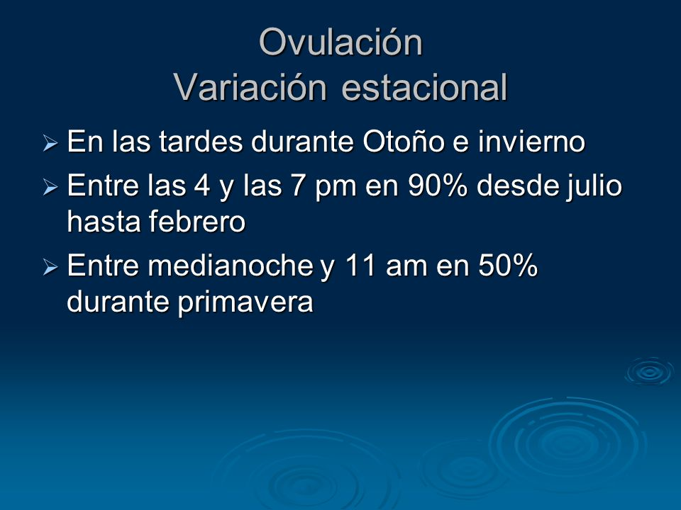 Ovulación Variación estacional
