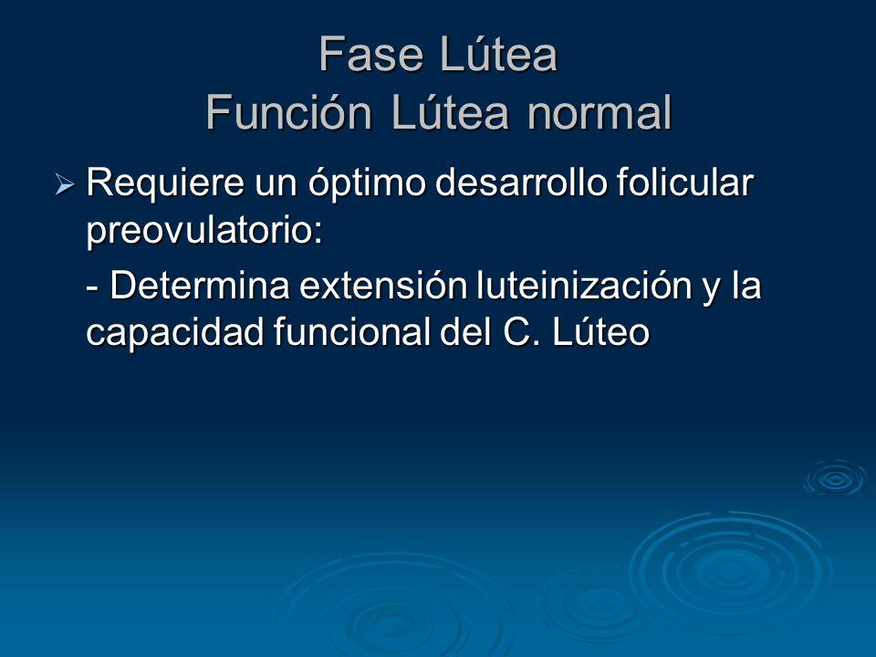 Fase Lútea Función Lútea normal