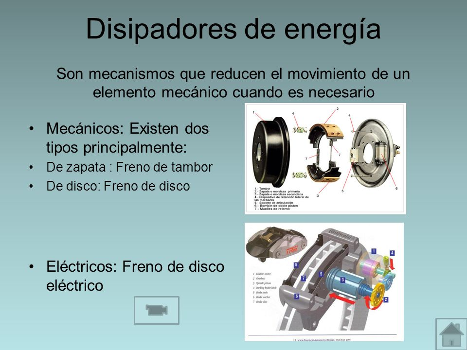 Disipadores de energía Son mecanismos que reducen el movimiento de un elemento mecánico cuando es necesario