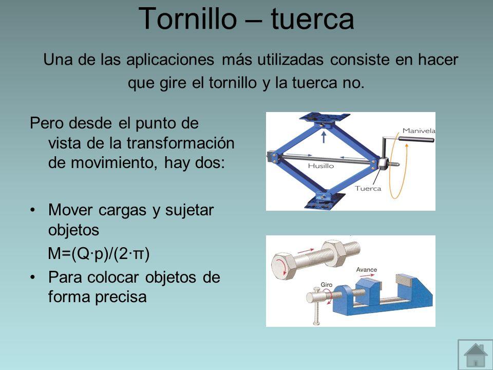 Tornillo – tuerca Una de las aplicaciones más utilizadas consiste en hacer que gire el tornillo y la tuerca no.