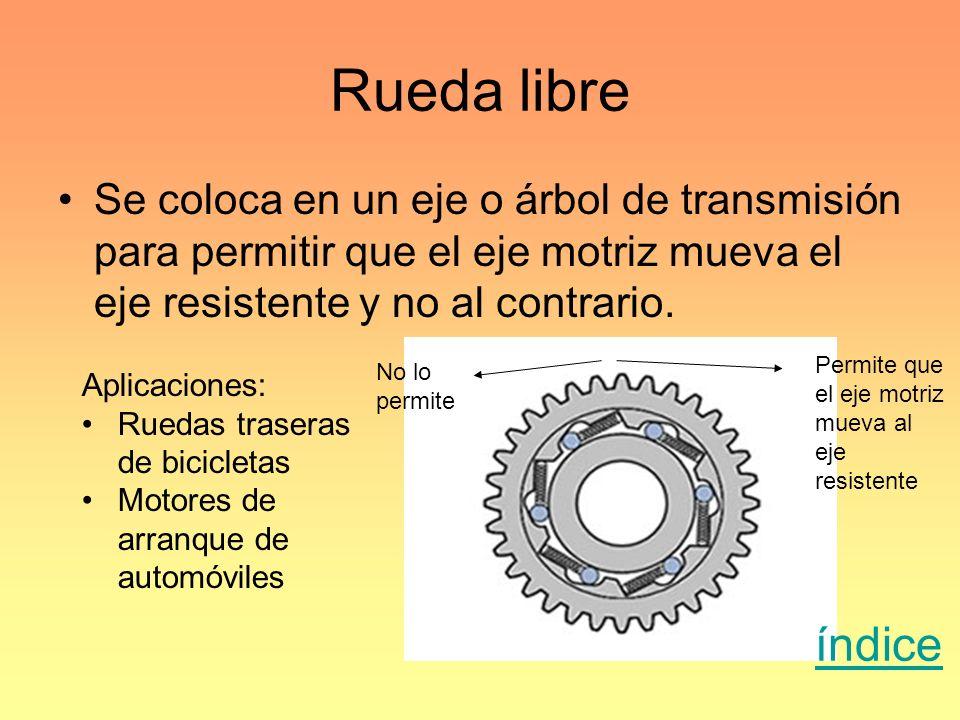 Rueda libre Se coloca en un eje o árbol de transmisión para permitir que el eje motriz mueva el eje resistente y no al contrario.