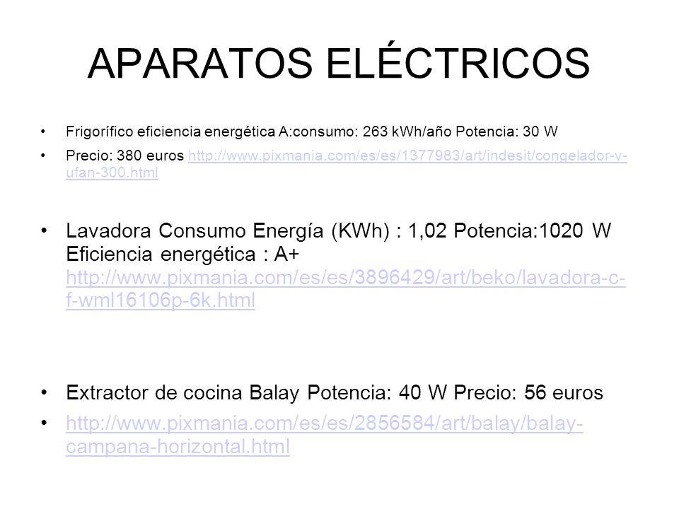 APARATOS ELÉCTRICOS Frigorífico eficiencia energética A:consumo: 263 kWh/año Potencia: 30 W.