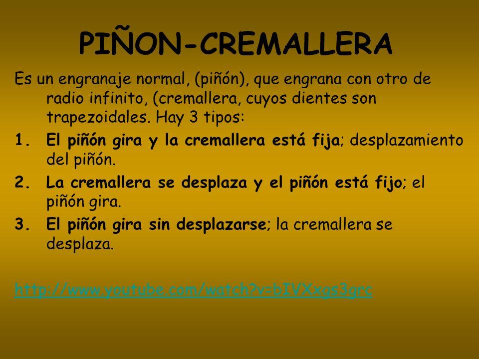 PIÑON-CREMALLERAEs un engranaje normal, (piñón), que engrana con otro de radio infinito, (cremallera, cuyos dientes son trapezoidales. Hay 3 tipos: