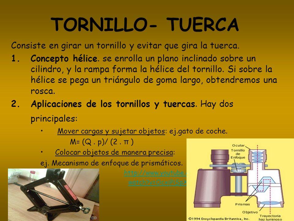 TORNILLO- TUERCAConsiste en girar un tornillo y evitar que gira la tuerca.