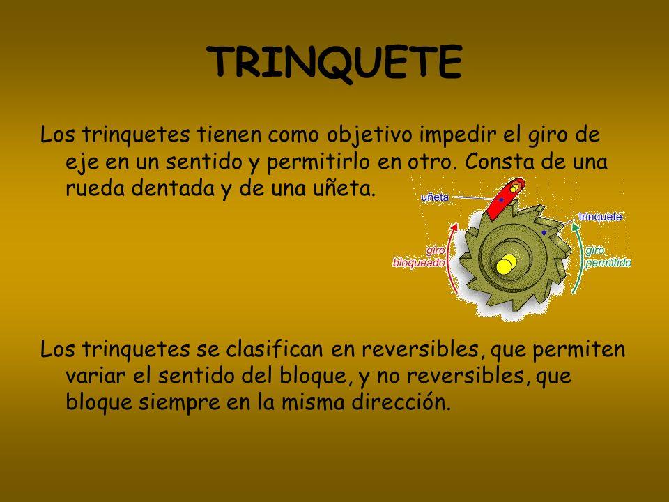 TRINQUETE Los trinquetes tienen como objetivo impedir el giro de eje en un sentido y permitirlo en otro. Consta de una rueda dentada y de una uñeta.