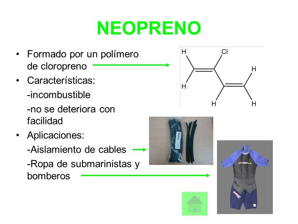NEOPRENO Formado por un polímero de cloropreno Características: