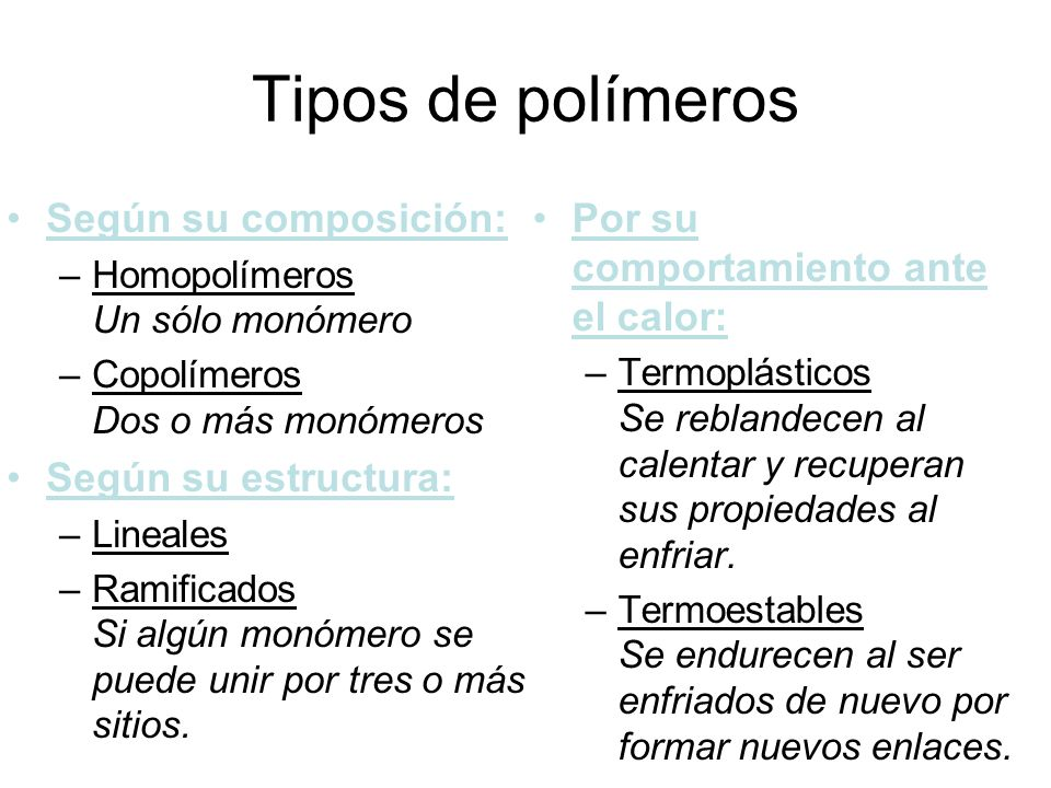 Tipos de polímeros Según su composición: Según su estructura: