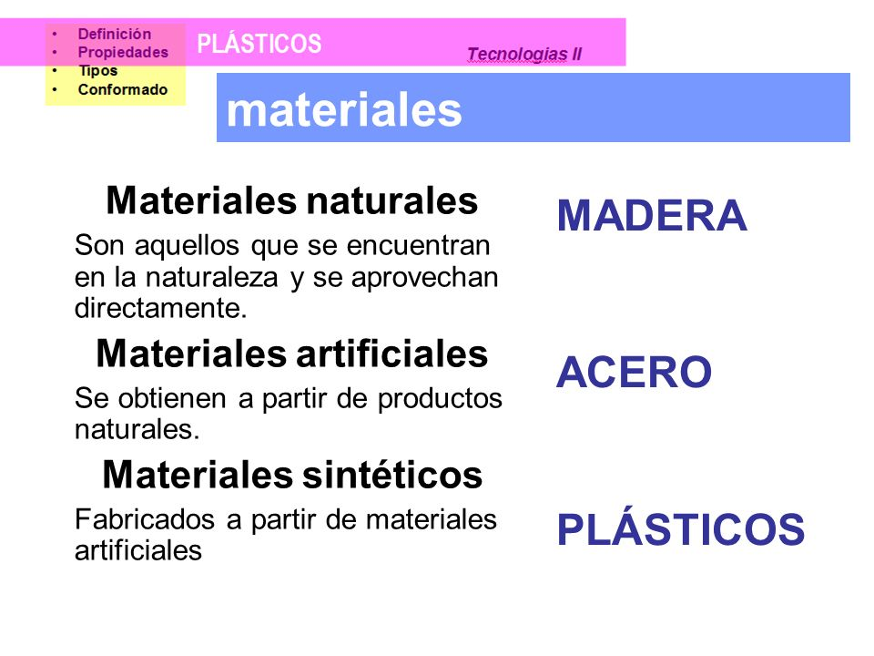 Materiales artificiales Materiales sintéticos