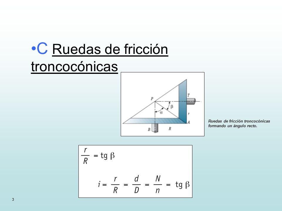 C Ruedas de fricción troncocónicas