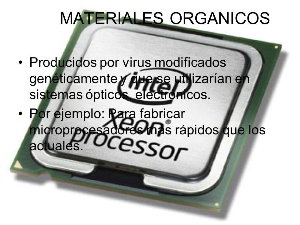 MATERIALES ORGANICOS Producidos por virus modificados genéticamente y que se utilizarían en sistemas ópticos, electrónicos.