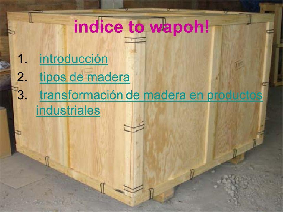 indice to wapoh! introducción tipos de madera