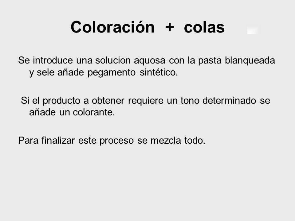 Coloración + colas Se introduce una solucion aquosa con la pasta blanqueada y sele añade pegamento sintético.