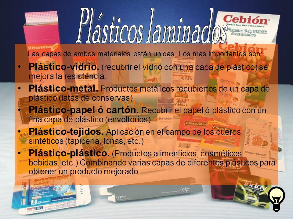 Plásticos laminados Las capas de ambos materiales están unidas. Los mas importantes son: