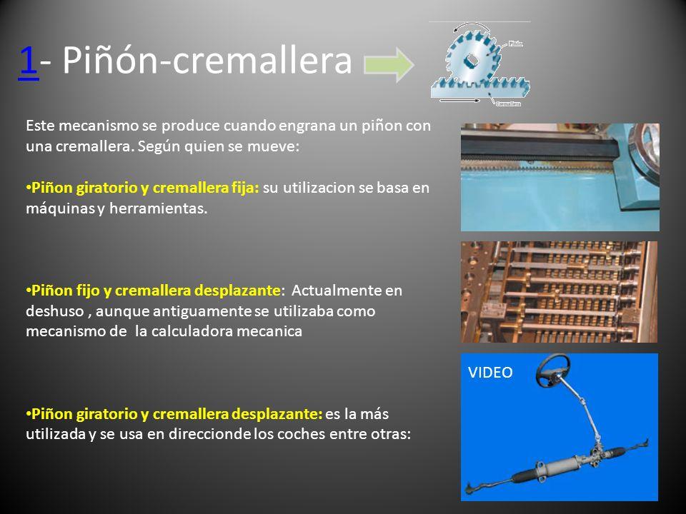 1- Piñón-cremalleraEste mecanismo se produce cuando engrana un piñon con una cremallera. Según quien se mueve: