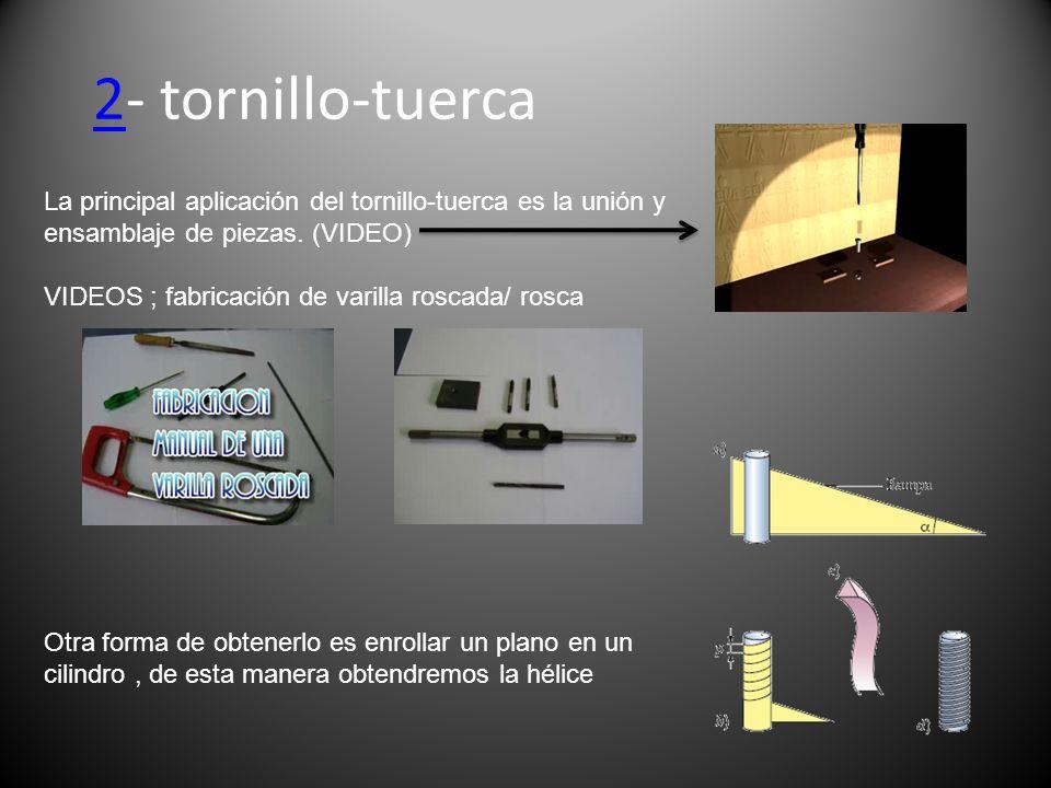 2- tornillo-tuercaLa principal aplicación del tornillo-tuerca es la unión y ensamblaje de piezas. (VIDEO)